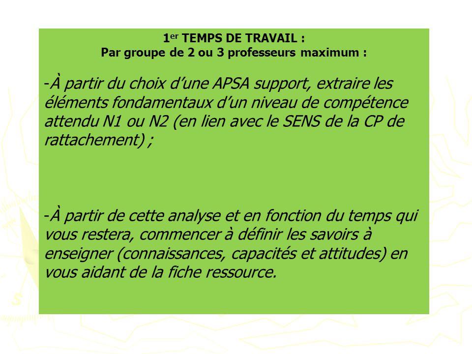 1 er TEMPS DE TRAVAIL : Par groupe de 2 ou 3 professeurs maximum : -À partir du choix dune APSA support, extraire les éléments fondamentaux dun niveau