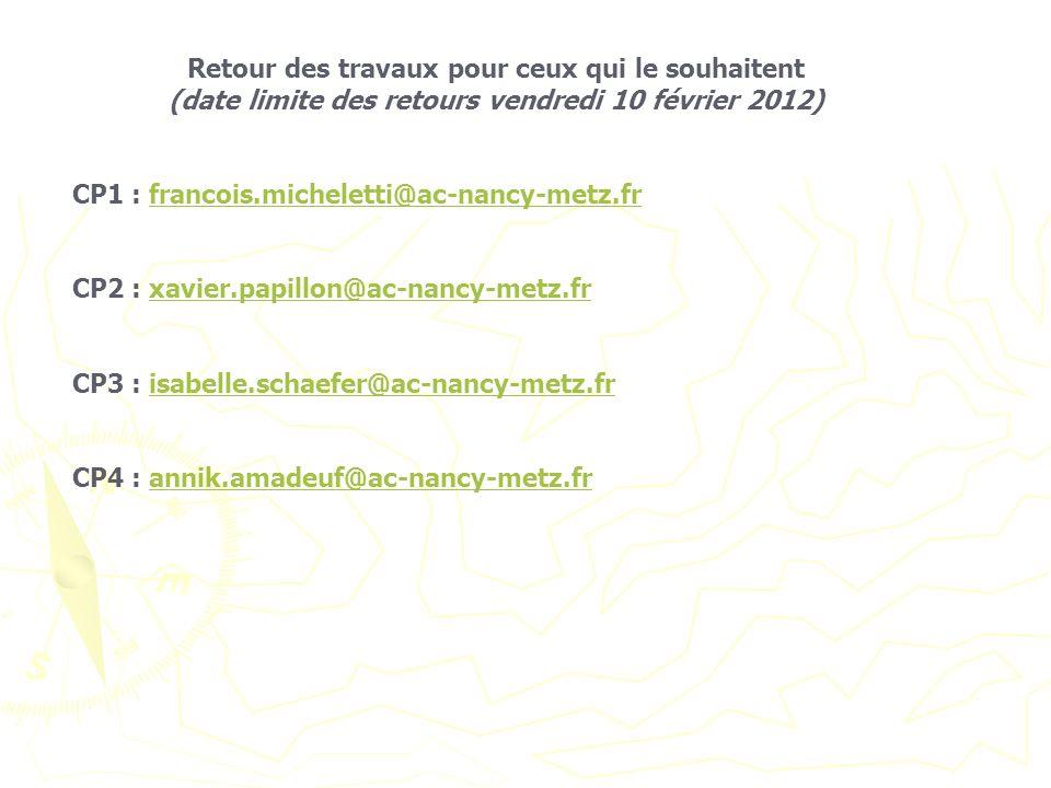Retour des travaux pour ceux qui le souhaitent (date limite des retours vendredi 10 février 2012) CP1 : francois.micheletti@ac-nancy-metz.frfrancois.m