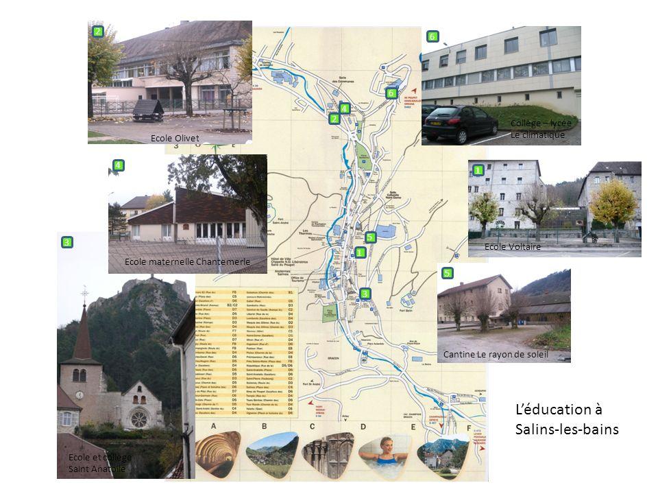 Léducation à Salins-les-bains 1 1 5 4 3 2 6 Ecole Voltaire 2 Ecole Olivet 3 Ecole et collège Saint Anatoile 4 Ecole maternelle Chantemerle 5 Cantine L