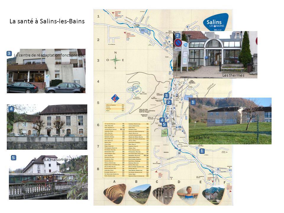 1 2 3 4 5 1 2 3 4 5 Le centre de réadaptation fonctionnelle La beline Les thermes Lhôpital La maison de retraite La santé à Salins-les-Bains