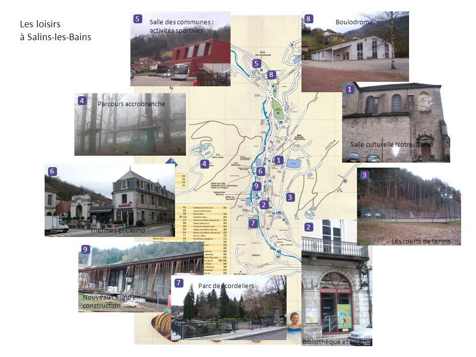 Les loisirs à Salins-les-Bains 1 1 Salle culturelle Notre-Dame 2 2 Bibliothèque et cinéma 3 3 Les courts de tennis 4 4 Parcours accrobranche 5 5 Salle