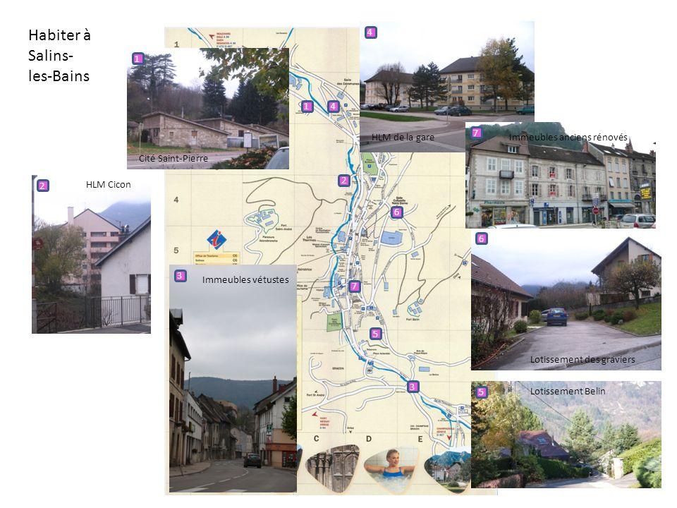 Habiter à Salins- les-Bains 1 1 Cité Saint-Pierre 2 2 HLM Cicon 3 3 Immeubles vétustes 4 4 HLM de la gare 5 5 Lotissement Belin 6 6 Lotissement des gr
