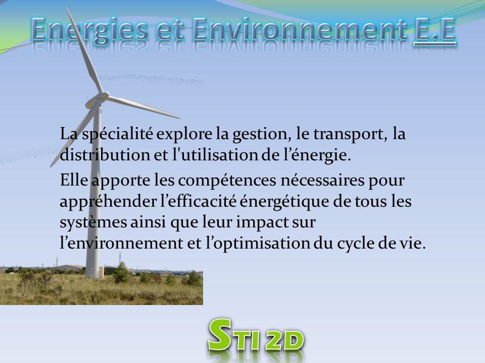 La spécialité explore la gestion, le transport, la distribution et l'utilisation de lénergie. Elle apporte les compétences nécessaires pour appréhende