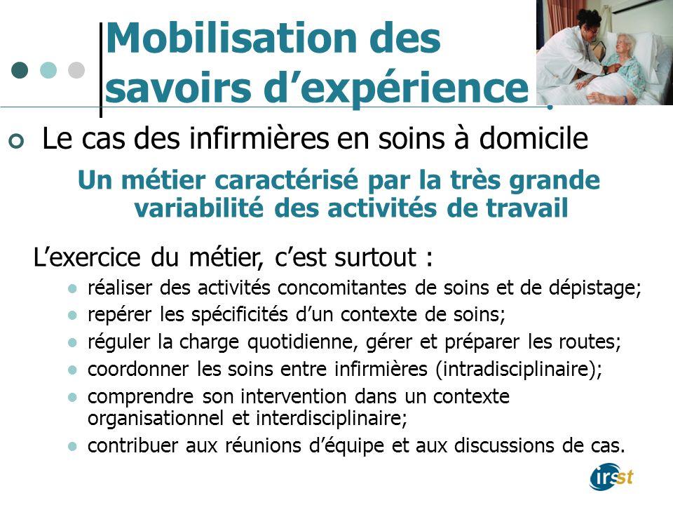 Mobilisation des savoirs dexpérience Le cas des infirmières en soins à domicile Un métier caractérisé par la très grande variabilité des activités de