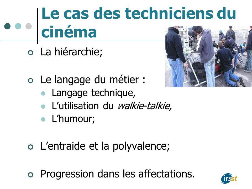 Le cas des techniciens du cinéma La hiérarchie; Le langage du métier : Langage technique, Lutilisation du walkie-talkie, Lhumour; Lentraide et la poly