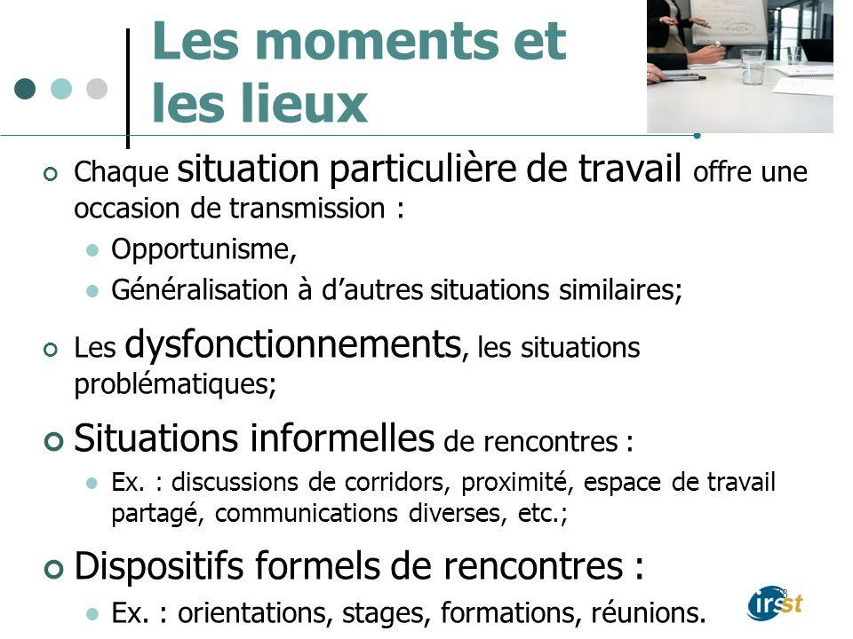 Les moments et les lieux Chaque situation particulière de travail offre une occasion de transmission : Opportunisme, Généralisation à dautres situatio