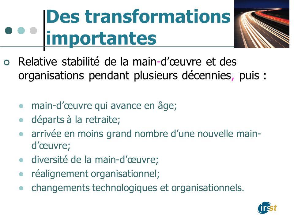 Des transformations importantes Relative stabilité de la main-dœuvre et des organisations pendant plusieurs décennies, puis : main-dœuvre qui avance e