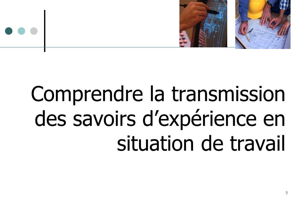 9 Comprendre la transmission des savoirs dexpérience en situation de travail