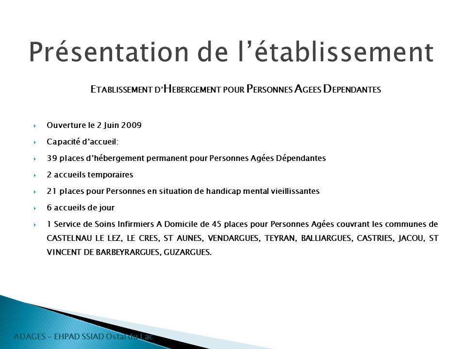 Présentation de létablissement E TABLISSEMENT D H EBERGEMENT POUR P ERSONNES A GEES D EPENDANTES Ouverture le 2 Juin 2009 Capacité daccueil: 39 places
