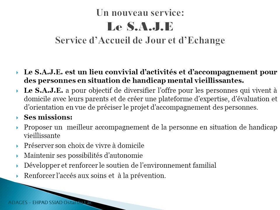 Un nouveau service: Le S.A.J.E Service dAccueil de Jour et dEchange Le S.A.J.E. est un lieu convivial dactivités et daccompagnement pour des personnes