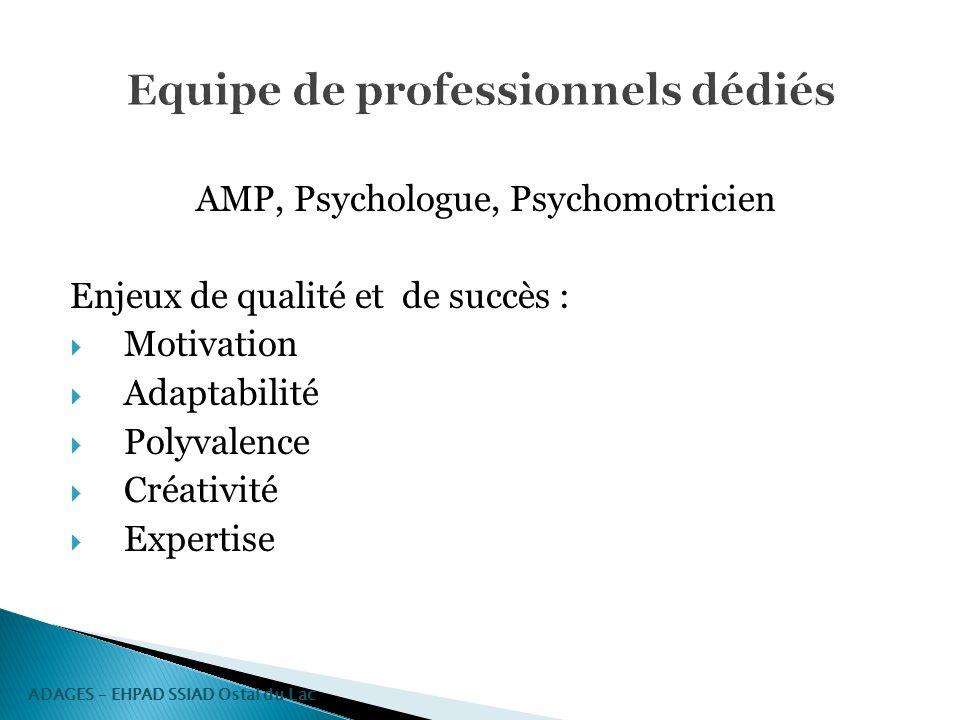 AMP, Psychologue, Psychomotricien Enjeux de qualité et de succès : Motivation Adaptabilité Polyvalence Créativité Expertise ADAGES – EHPAD SSIAD Ostal