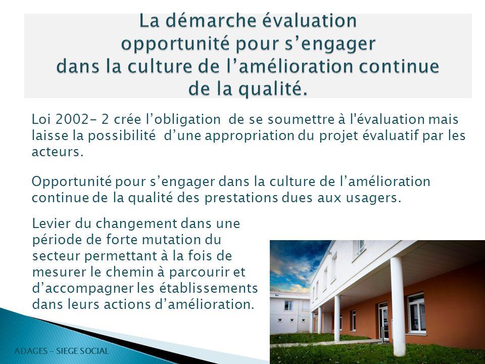 Loi 2002- 2 crée lobligation de se soumettre à l'évaluation mais laisse la possibilité dune appropriation du projet évaluatif par les acteurs. Opportu