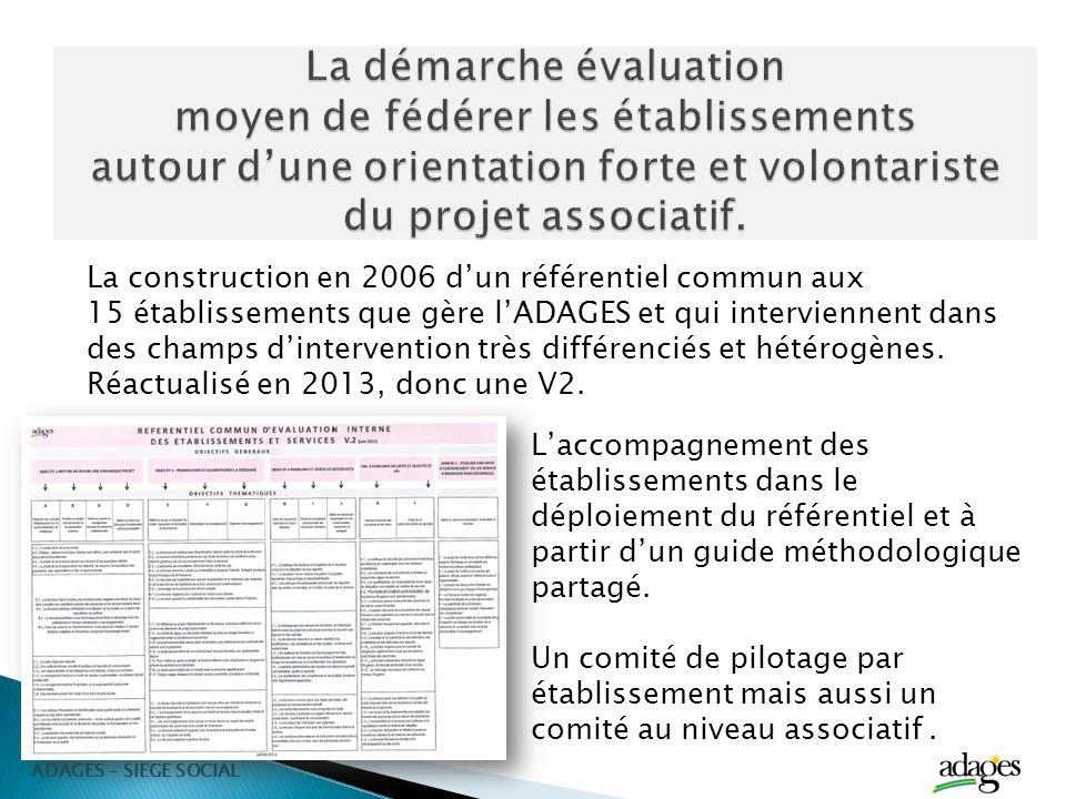 La construction en 2006 dun référentiel commun aux 15 établissements que gère lADAGES et qui interviennent dans des champs dintervention très différen