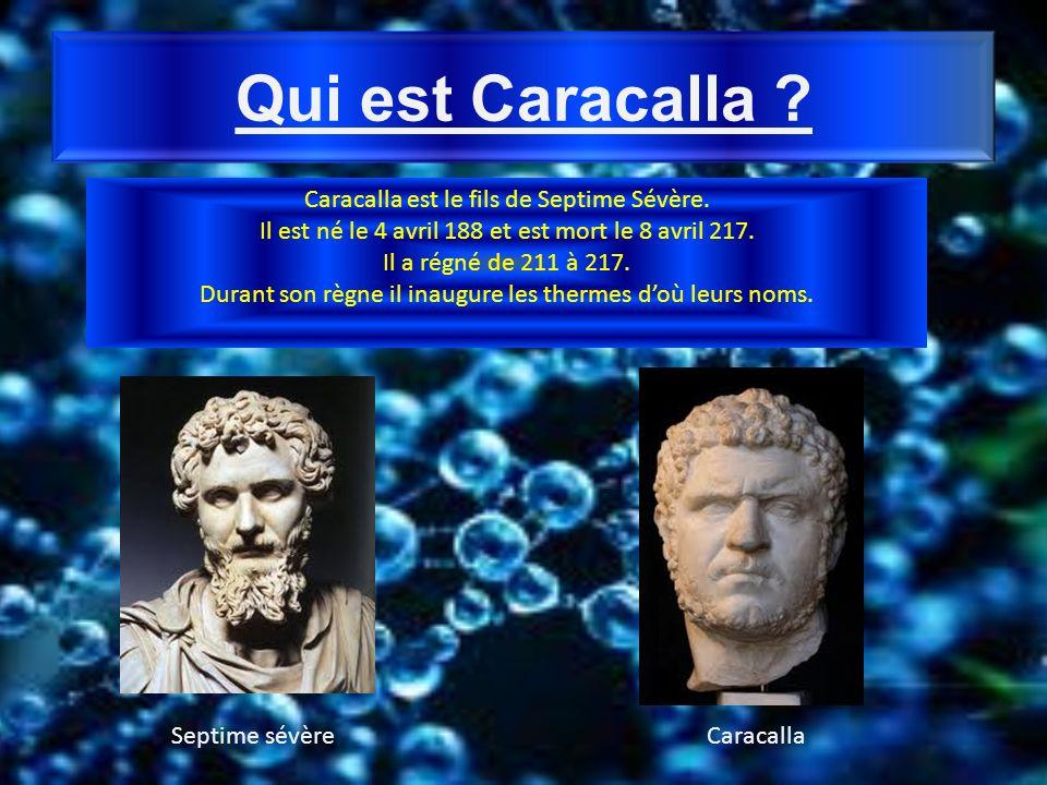 Qui est Caracalla ? Caracalla est le fils de Septime Sévère. Il est né le 4 avril 188 et est mort le 8 avril 217. Il a régné de 211 à 217. Durant son