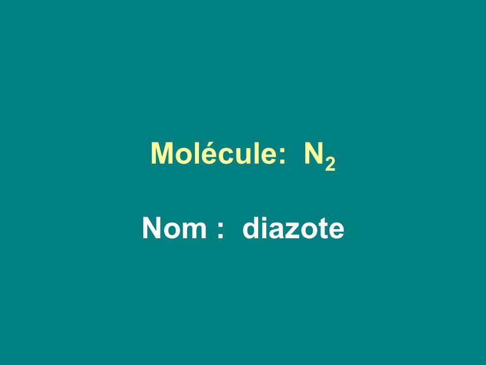 Molécule: N 2 Nom : diazote