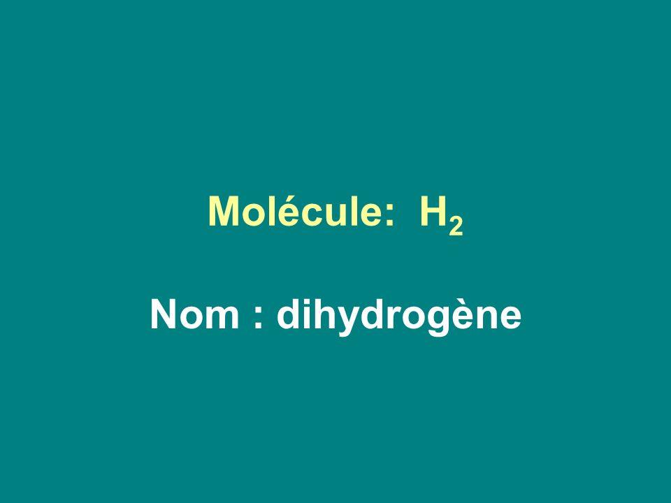 Molécule: H 2 Nom : dihydrogène