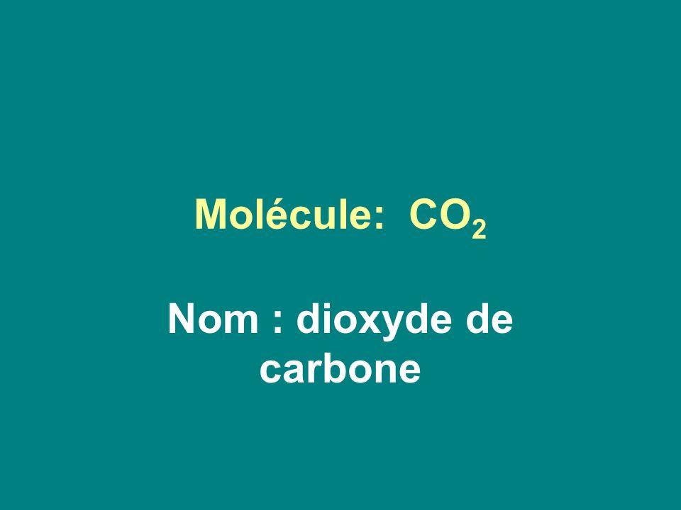 Molécule: CO 2 Nom : dioxyde de carbone