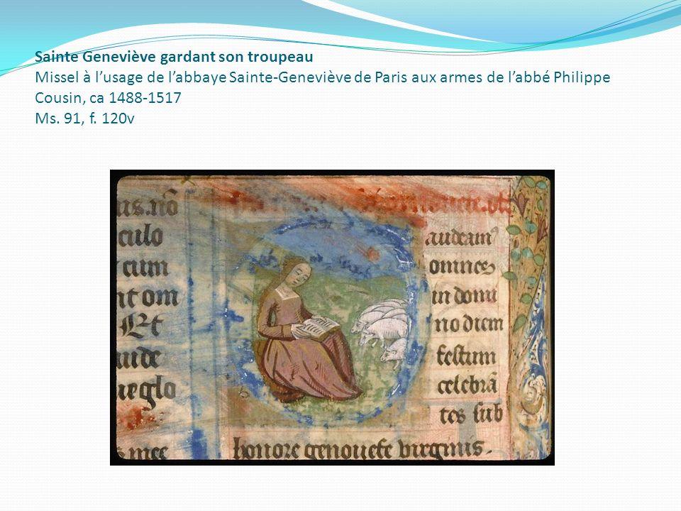 Sainte Geneviève gardant son troupeau Missel à lusage de labbaye Sainte-Geneviève de Paris aux armes de labbé Philippe Cousin, ca 1488-1517 Ms. 91, f.