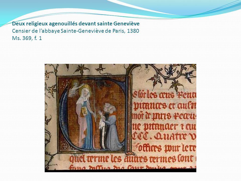 Deux religieux agenouillés devant sainte Geneviève Censier de labbaye Sainte-Geneviève de Paris, 1380 Ms. 369, f. 1