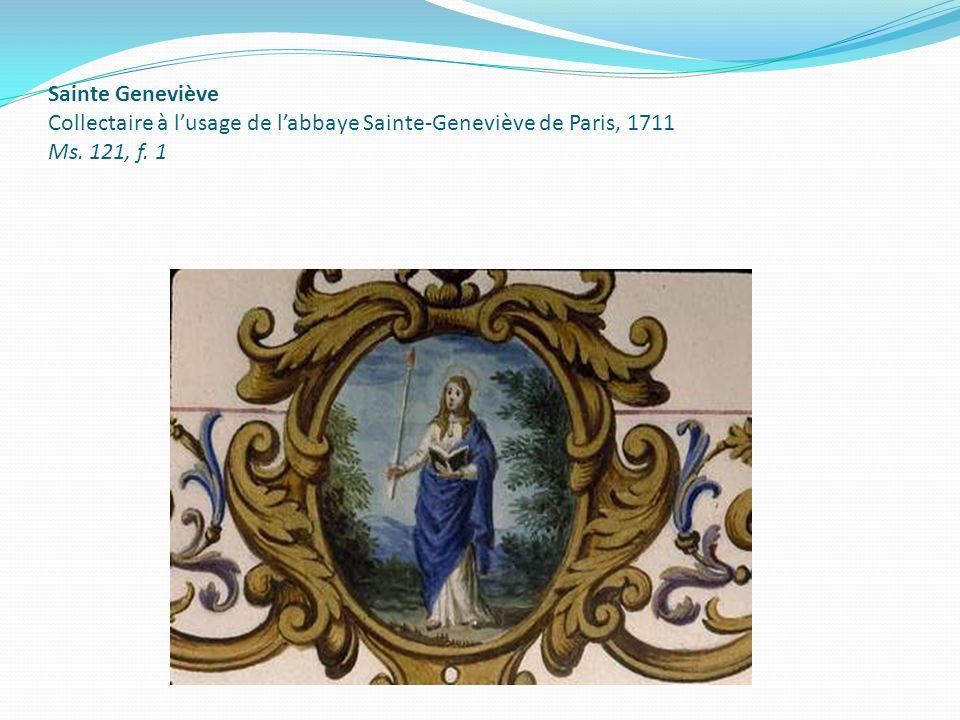 Sainte Geneviève Collectaire à lusage de labbaye Sainte-Geneviève de Paris, 1711 Ms. 121, f. 1