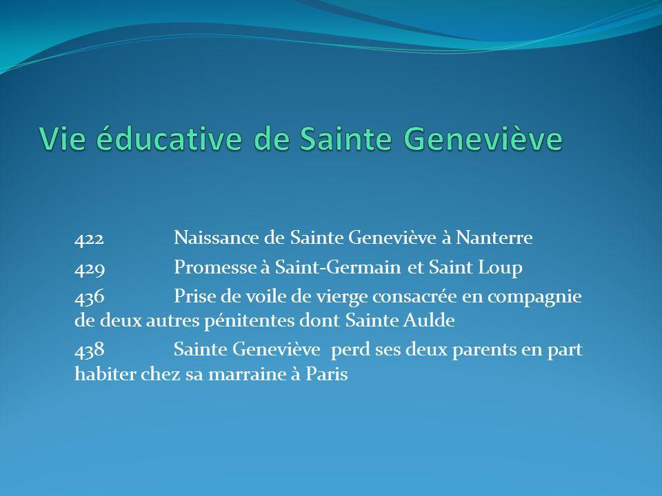 422Naissance de Sainte Geneviève à Nanterre 429Promesse à Saint-Germain et Saint Loup 436Prise de voile de vierge consacrée en compagnie de deux autre