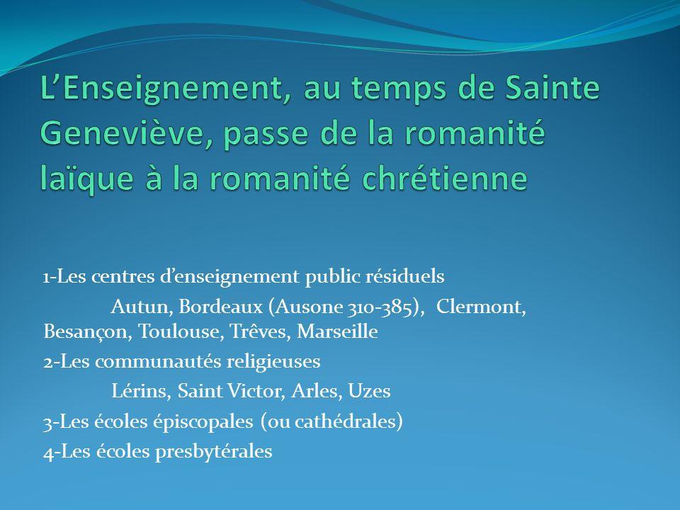 1-Les centres denseignement public résiduels Autun, Bordeaux (Ausone 310-385), Clermont, Besançon, Toulouse, Trêves, Marseille 2-Les communautés relig