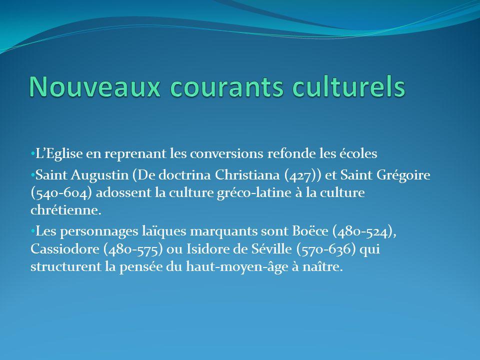LEglise en reprenant les conversions refonde les écoles Saint Augustin (De doctrina Christiana (427)) et Saint Grégoire (540-604) adossent la culture