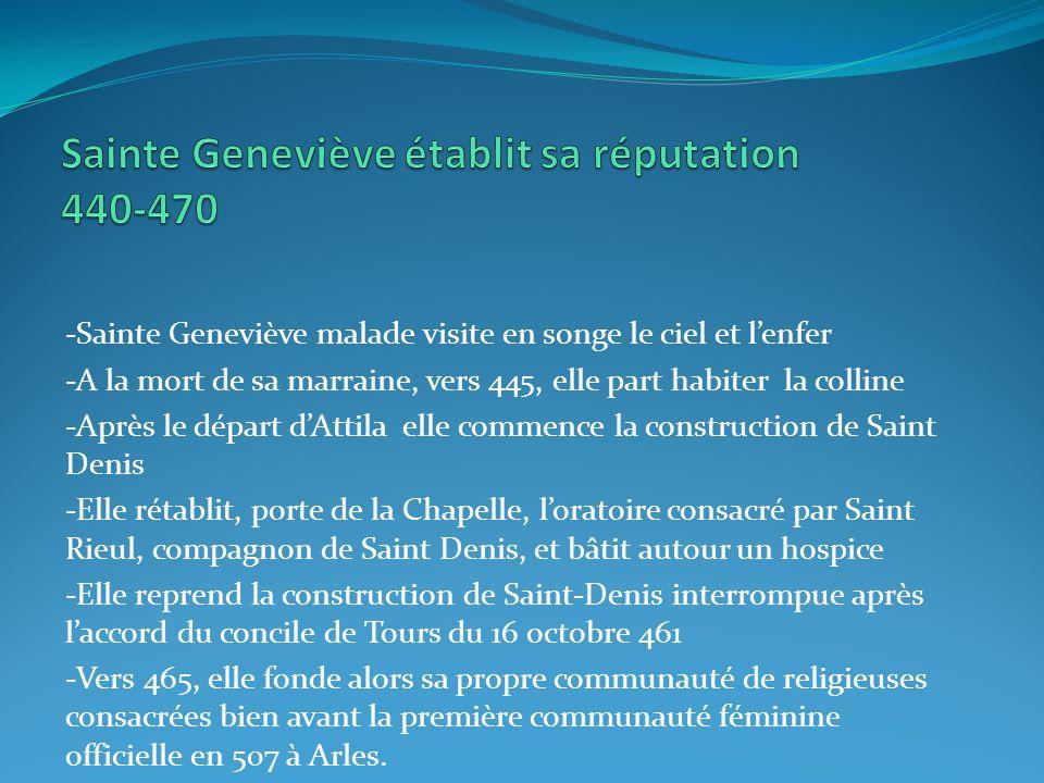 -Sainte Geneviève malade visite en songe le ciel et lenfer -A la mort de sa marraine, vers 445, elle part habiter la colline -Après le départ dAttila