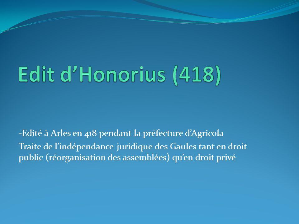 -Edité à Arles en 418 pendant la préfecture dAgricola Traite de lindépendance juridique des Gaules tant en droit public (réorganisation des assemblées