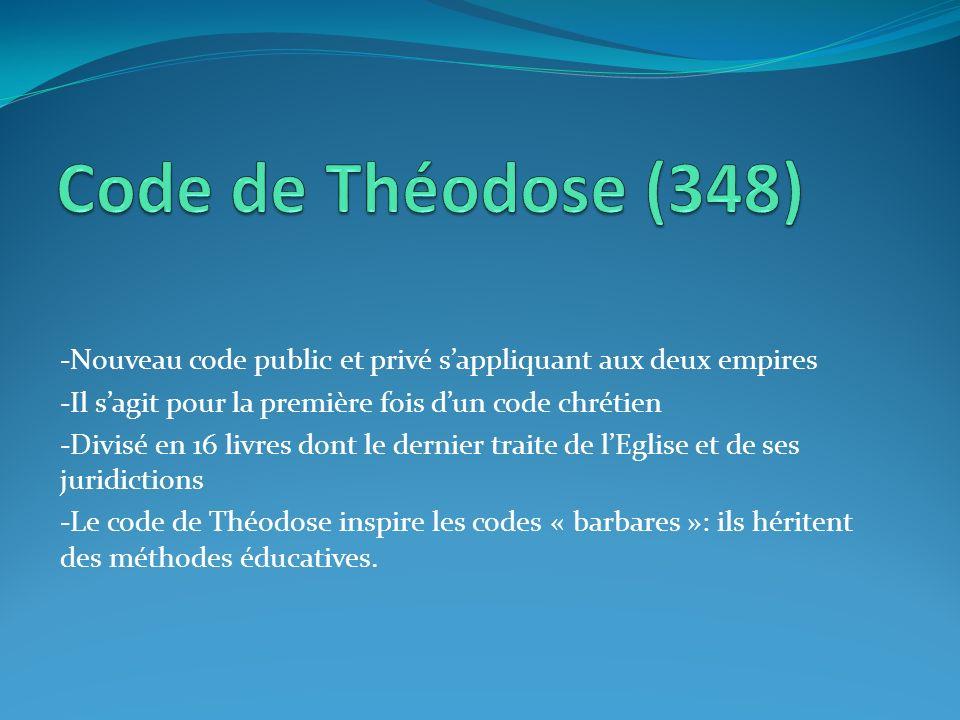 -Nouveau code public et privé sappliquant aux deux empires -Il sagit pour la première fois dun code chrétien -Divisé en 16 livres dont le dernier trai