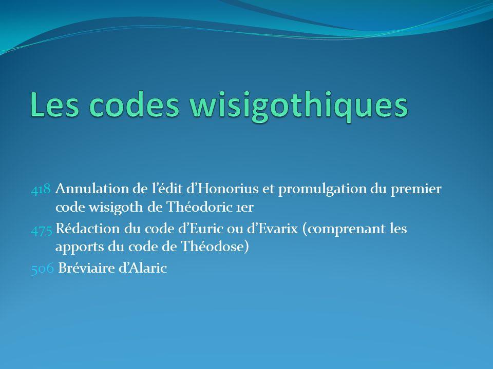 418 Annulation de lédit dHonorius et promulgation du premier code wisigoth de Théodoric 1er 475 Rédaction du code dEuric ou dEvarix (comprenant les ap
