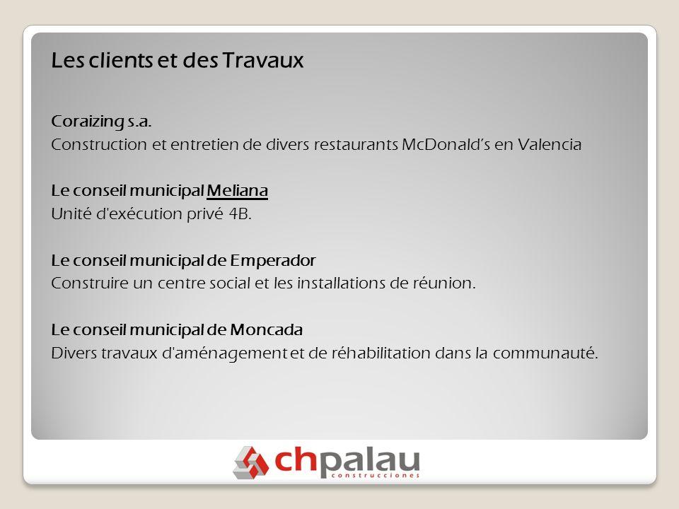 Les clients et des Travaux Coraizing s.a.