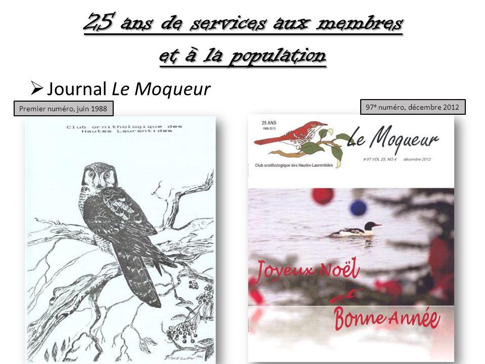 25 ans de services aux membres et à la population Journal Le Moqueur 97 e numéro, décembre 2012 Premier numéro, juin 1988