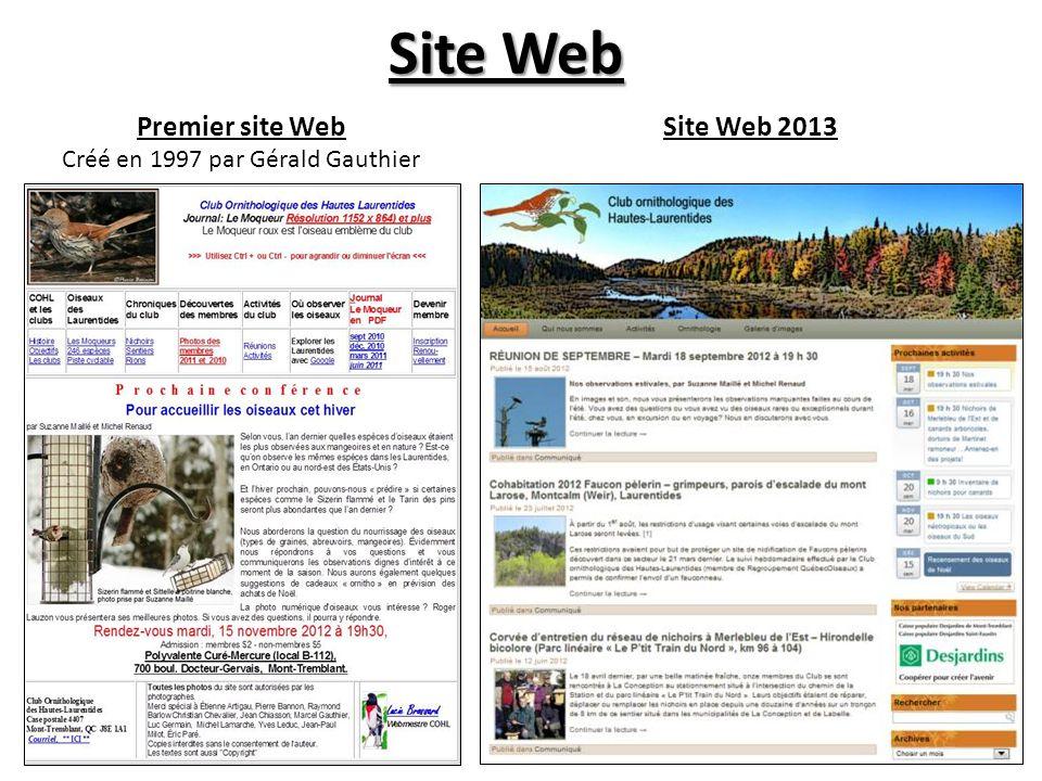 Site Web Premier site Web Créé en 1997 par Gérald Gauthier Site Web 2013