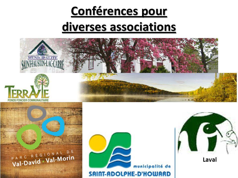 Conférences pour diverses associations Laval