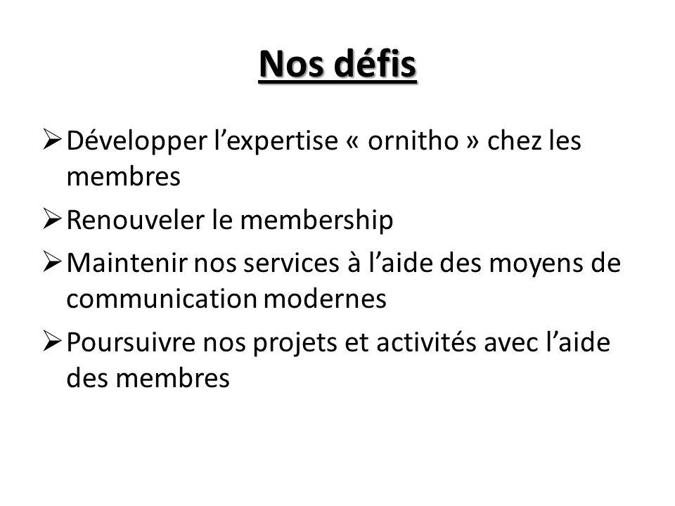Nos défis Développer lexpertise « ornitho » chez les membres Renouveler le membership Maintenir nos services à laide des moyens de communication modernes Poursuivre nos projets et activités avec laide des membres