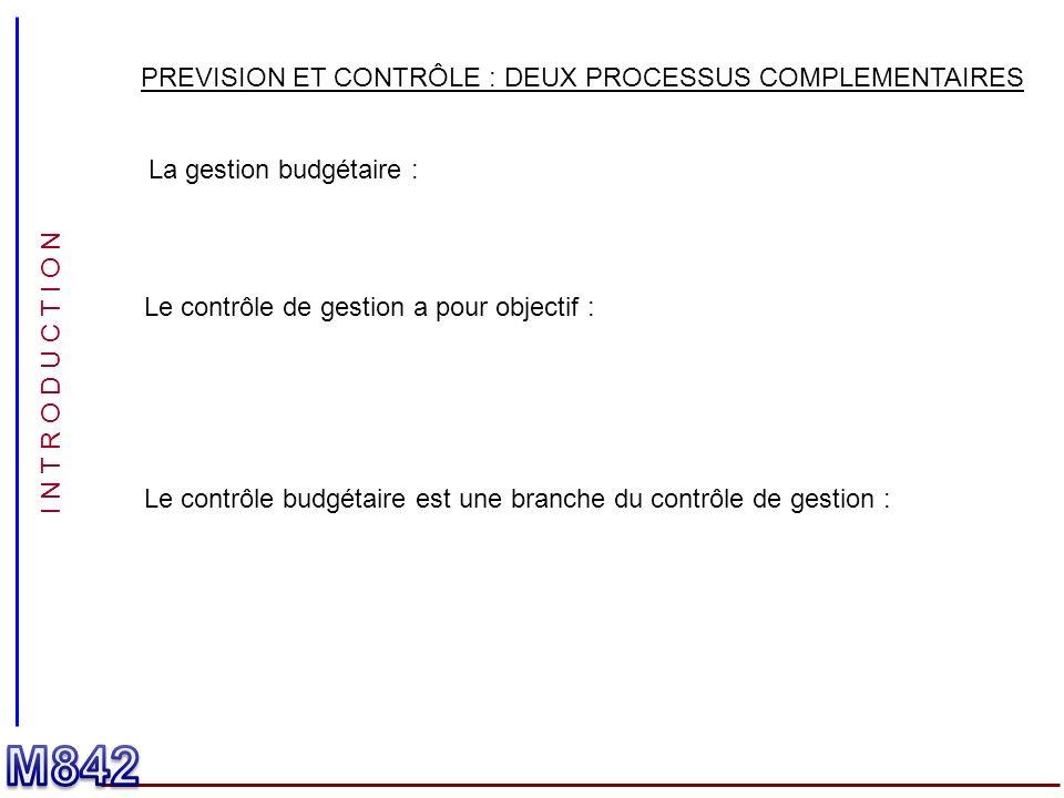 I N T R O D U C T I O N PREVISION ET CONTRÔLE : DEUX PROCESSUS COMPLEMENTAIRES La gestion budgétaire : Le contrôle de gestion a pour objectif : Le con