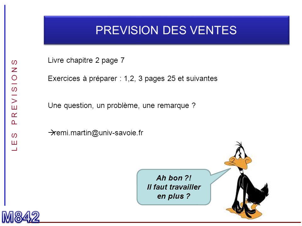 L E S P R E V I S I O N S PREVISION DES VENTES Livre chapitre 2 page 7 Exercices à préparer : 1,2, 3 pages 25 et suivantes Une question, un problème,