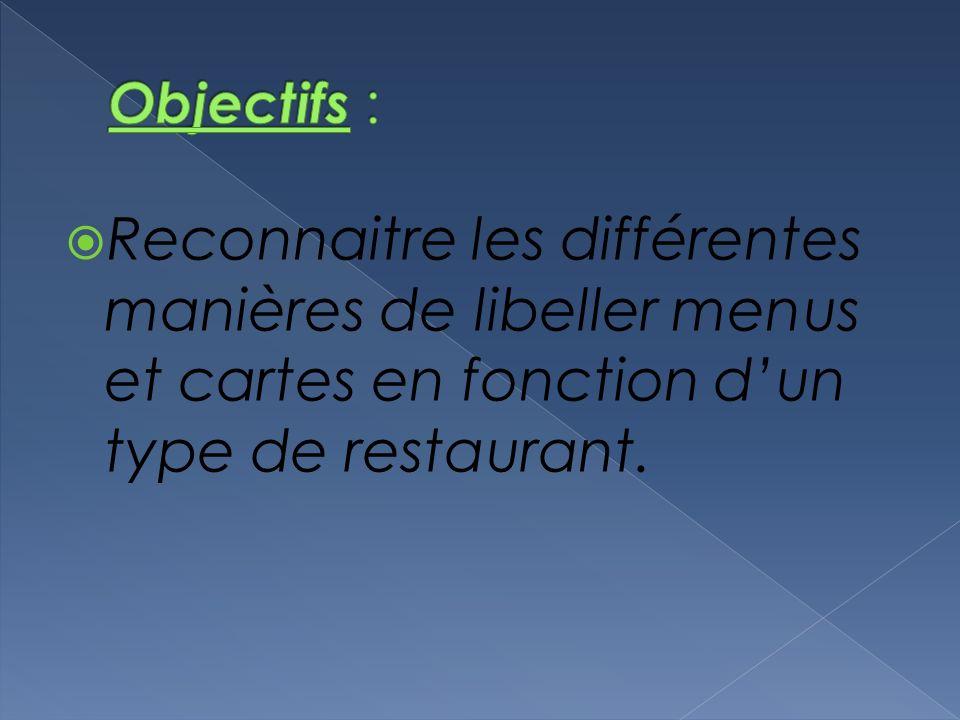 Reconnaitre les différentes manières de libeller menus et cartes en fonction dun type de restaurant.