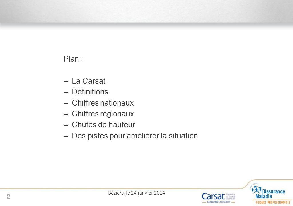 Plan : –La Carsat –Définitions –Chiffres nationaux –Chiffres régionaux –Chutes de hauteur –Des pistes pour améliorer la situation 2 Béziers, le 24 janvier 2014