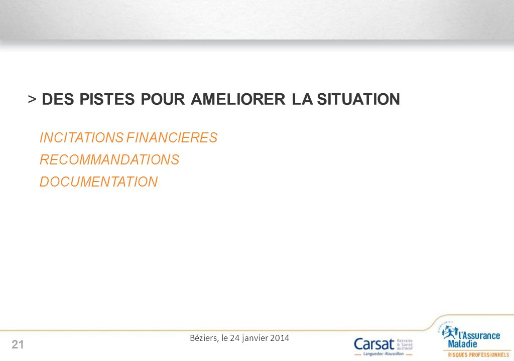 >DES PISTES POUR AMELIORER LA SITUATION INCITATIONS FINANCIERES RECOMMANDATIONS DOCUMENTATION 21 Béziers, le 24 janvier 2014