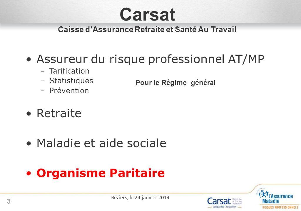 3 Carsat Caisse dAssurance Retraite et Santé Au Travail Assureur du risque professionnel AT/MP –Tarification –Statistiques –Prévention Retraite Maladi