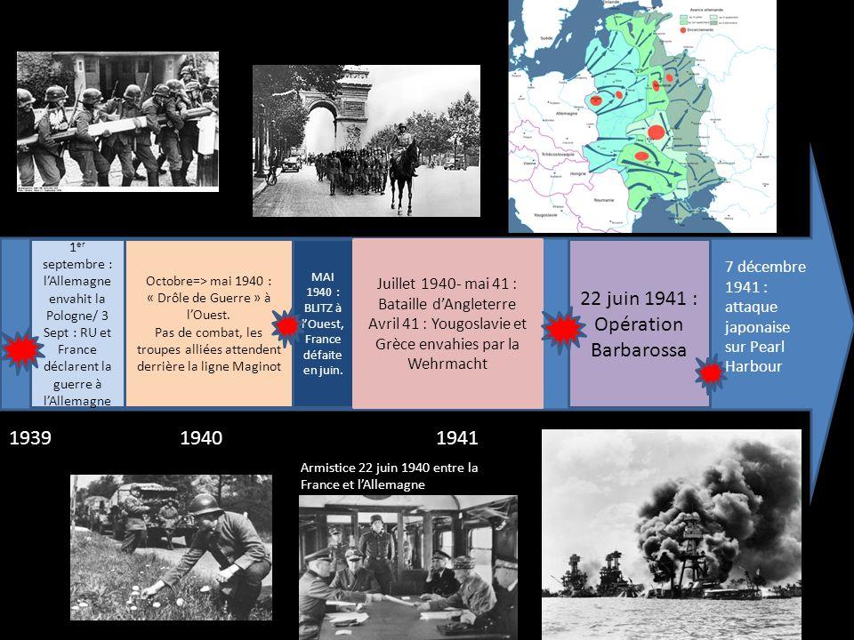 1942194319441945 Septembre 42- février 43 : bataille de Stalingrad 5-6 juin 42 : victoire alliée de Midway Novembre 42 : victoire britannique à El-Alamein et débarquement allié en Afrique du Nord Débarquement allié en Sicile en juillet 43 Débarquement allié en Normandie le 6-6-44 8 Mai 1945 : capitulation allemande 6-9 août 45 : Hiroshima/Nagasaki 2 sept.