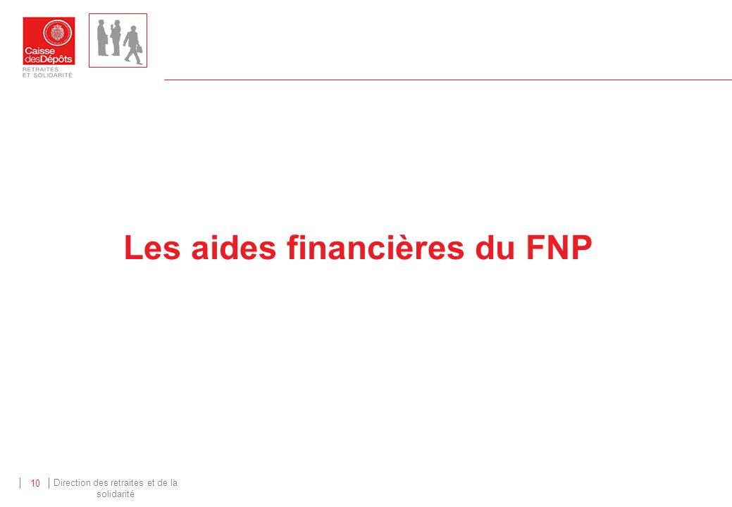 Direction des retraites et de la solidarité 10 Les aides financières du FNP