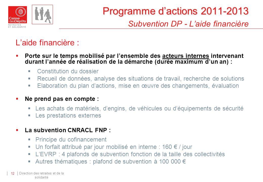 Direction des retraites et de la solidarité 12 Programme dactions 2011-2013 Programme dactions 2011-2013 Subvention DP - Laide financière Laide financ