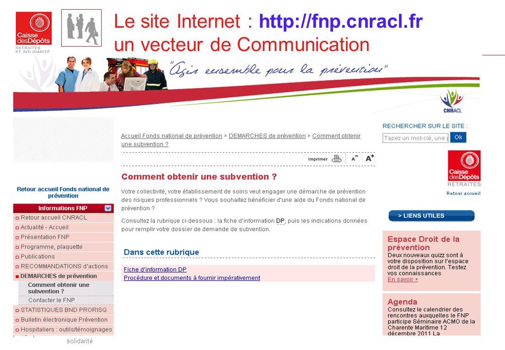 Direction des retraites et de la solidarité 15 Le site Internet : http://fnp.cnracl.fr un vecteur de Communication