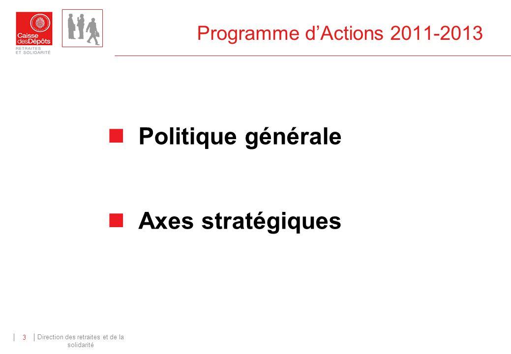 Direction des retraites et de la solidarité 3 Programme dActions 2011-2013 Politique générale Axes stratégiques