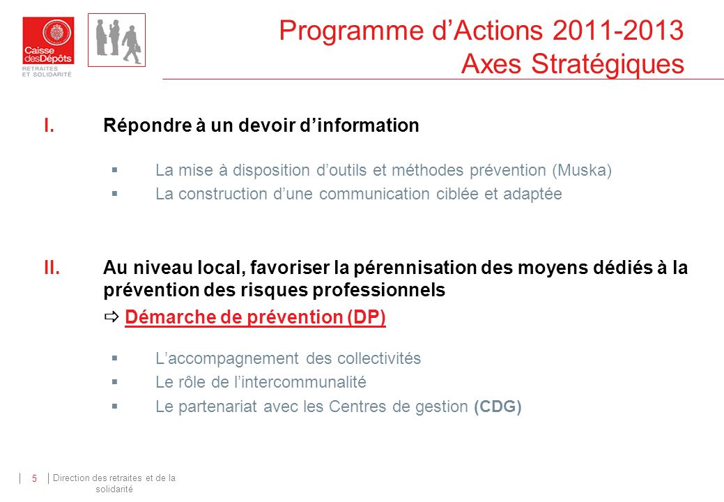 Direction des retraites et de la solidarité 5 Programme dActions 2011-2013 Axes Stratégiques I.Répondre à un devoir dinformation La mise à disposition