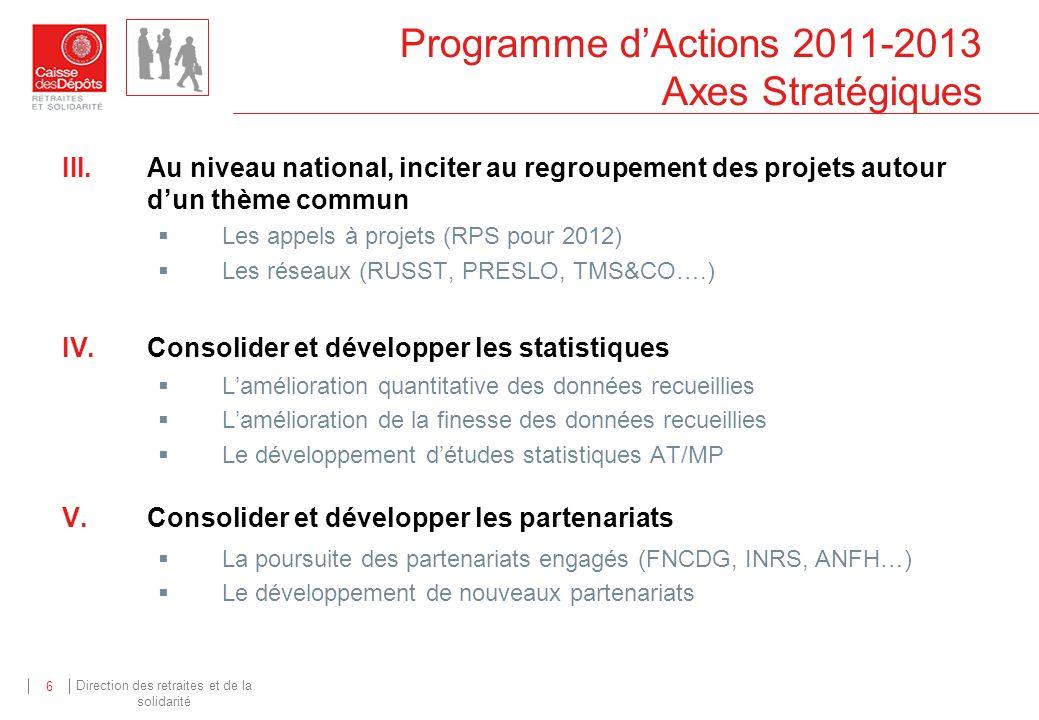 Direction des retraites et de la solidarité 6 Programme dActions 2011-2013 Axes Stratégiques III.Au niveau national, inciter au regroupement des proje