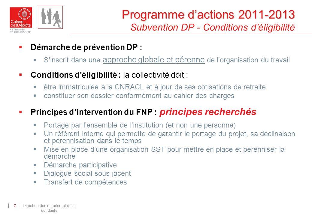 Direction des retraites et de la solidarité 7 Programme dactions 2011-2013 Programme dactions 2011-2013 Subvention DP - Conditions déligibilité Démarc